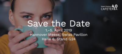 Hannover Messe - Swiss Pavillon - Cafeteria Interactive Lernfabrik: Hallo 6; Stand G24